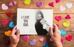 Mothers day composition, black-and-white photo. Studio shot, woo Stock Photography