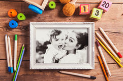 Mothers day composition. Black-and-white photo. Various toys. Wo Royalty Free Stock Photo