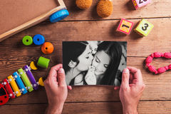 Mothers day composition. Black-and-white photo. Various toys. Wo Royalty Free Stock Images