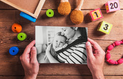 Mothers day composition. Black-and-white photo. Various toys. Wo Stock Images