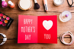 Mothers day composition. Greeting card land beauty products. Royalty Free Stock Photo