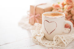 Mothers day concept. Coffee present and roses copy space Stock Images