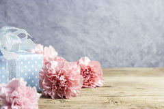Mothers day concept of pink carnation flowers and gift box on ol Stock Photos
