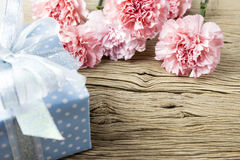 Mothers day concept of pink carnation flowers and gift box on ol Stock Image