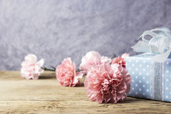 Mothers day concept of pink carnation flowers and gift box on ol Stock Images
