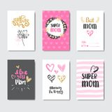 Mothers Day Cute Greeting Cards Collection With Hand Drawn Lettering Calligraphy Stock Images