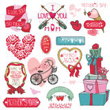 Mothers day decor elements set.Ribbons,frames. Mothers day decor elements collection.Labels,badges,emblems and ribbons ,hearts lettering,flowers,headline, retro stock illustration