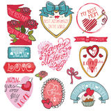 Mothers day decor elements set.Ribbons,labels Royalty Free Stock Photo