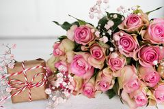 Mothers day decoration with a bouquet of pink roses Stock Image