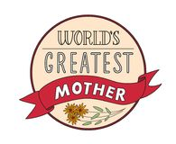 Mothers Day Festive Round Label Template. With calligraphic inscription red ribbon and flower isolated vector illustration Royalty Free Stock Images