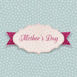 Mothers Day festive Sign. White Banner and purple Ribbon on blue Background with Hearts Pattern. Vector Illustration Stock Photography