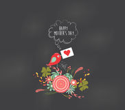 Mothers day floral and bird card Stock Photography