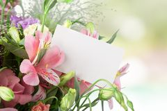 Mothers Day. Flower Bouquet Rose Greeting Card Cut Flowers Gift Royalty Free Stock Photo