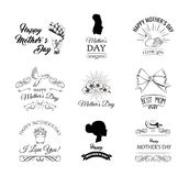 Mothers Day. Flower, swirls, womans silhouette, bow. Mother day set. Vector. royalty free illustration