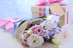Mothers Day Flowers and Gift Stock Photography