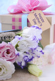 Mothers Day Flowers and Gift Royalty Free Stock Photo