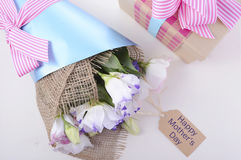 Mothers Day Flowers and Gift Royalty Free Stock Photos