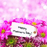 Mothers Day flowers and pink light background. Happy Mothers Day tag amongst a bouquet of flowers with twinkling pink background Royalty Free Stock Photos