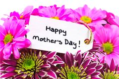 Mothers Day flowers with tag Stock Photo