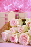 Mothers Day gift and flowers. Stock Image