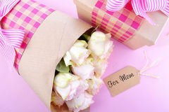 Mothers Day gift and flowers. Stock Photo