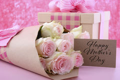 Mothers Day gift and flowers. Royalty Free Stock Photos