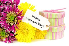 Mothers Day gifts and flowers Royalty Free Stock Photography