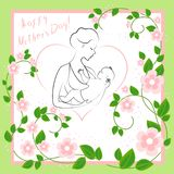 Mothers Day. A girl with a baby in her arms. Young and beautiful woman. Happy motherhood. Frame in the form of heart and flowers. royalty free illustration