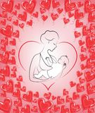 Mothers Day. A girl with a baby in her arms. Young and beautiful woman. Happy motherhood. Frame in the shape of heart and red stock illustration