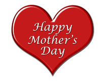 Mothers Day Greeting. Red beveled heart with Mother's Day greeting stock illustration