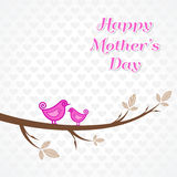 Mothers day greeting with birds on branch Royalty Free Stock Images