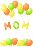Mothers Day Greeting Card. Word Mom being lifted by flying balloons and copy space to write extra text Royalty Free Stock Photos