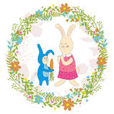 Mothers day greeting card.Baby rabbit gives mom carrots,Wreath of flowers.Cute hand drawn animal characters for kids Stock Photography