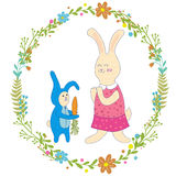 Mothers day greeting card.Baby rabbit gives mom carrots,Wreath of flowers.Cute hand drawn animal characters for kids Stock Photo