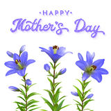 Mothers Day greeting card with blue lilies. Royalty Free Stock Photos