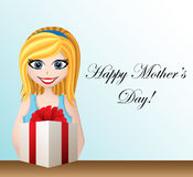 Mothers day greeting card with cartoon girl Royalty Free Stock Image