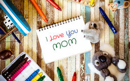 Mothers day greeting card concepts with I love you Mom text and Royalty Free Stock Image