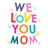 Mothers Day greeting card with hand print vector Stock Photography