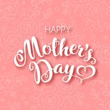 Happy Mothers Day. Mothers day greeting card with handwritten text on floral background. Vector Illustration stock illustration