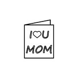 Mothers day greeting card icon. Greeting card line icon, mother`s day, holiday vector graphics, a linear pattern on a white background, eps 10 Vector Illustration