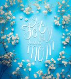 Mothers day greeting card with For my dear mom lettering and lovely little white Gypsophila flowers. On blue background, square Royalty Free Stock Photo