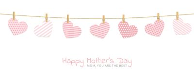 Mothers day greeting card with patterned hearts hang on a rope with clothespins vector illustration