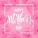 Mothers Day greeting card with pink red floral pattern. Royalty Free Stock Photos