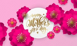 Mothers Day greeting card of red flower pattern and gold text on floral pink and red background for Mother Day holiday Royalty Free Stock Images