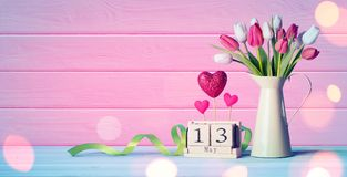 Mothers Day Greeting Card - Tulips And Calendar Stock Images