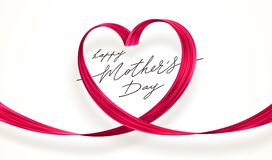 Free Mothers Day Greeting Card With Pink Heart. Paint Brush Stroke In The Shape Of Heart. Illustration With Love Symbol Royalty Free Stock Photography - 213555697