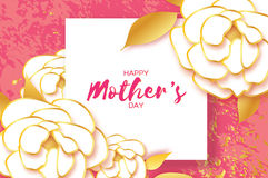 Mothers Day Greeting card. Women`s Day. Paper cut Peony gold flower. Origami Beautiful bouquet. Square frame. text. Happy Mothers Day. Gold White Floral Stock Photos