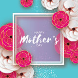 Mothers Day Greeting card. Women`s Day. Paper cut pink gold flower. Origami Beautiful bouquet. Square frame. text. Stock Photo