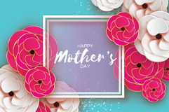 Mothers Day Greeting card. Women`s Day. Paper cut pink gold flower. Origami Beautiful bouquet. Square frame. text. Happy Mothers Day. Gold Pink Floral Greeting stock illustration