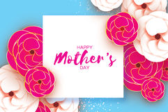 Mothers Day Greeting card. Women`s Day. Paper cut pink gold flower. Origami Beautiful bouquet. Square frame. text. Stock Image